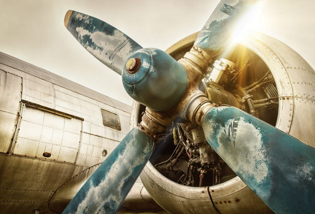 Vintage Airplane with close up on propeller