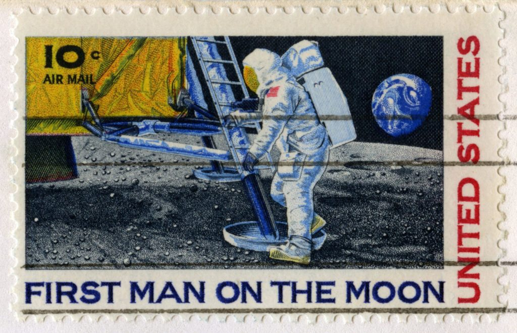 Cancelled stamp with Neil Armstrong taking the 1st step on the moon