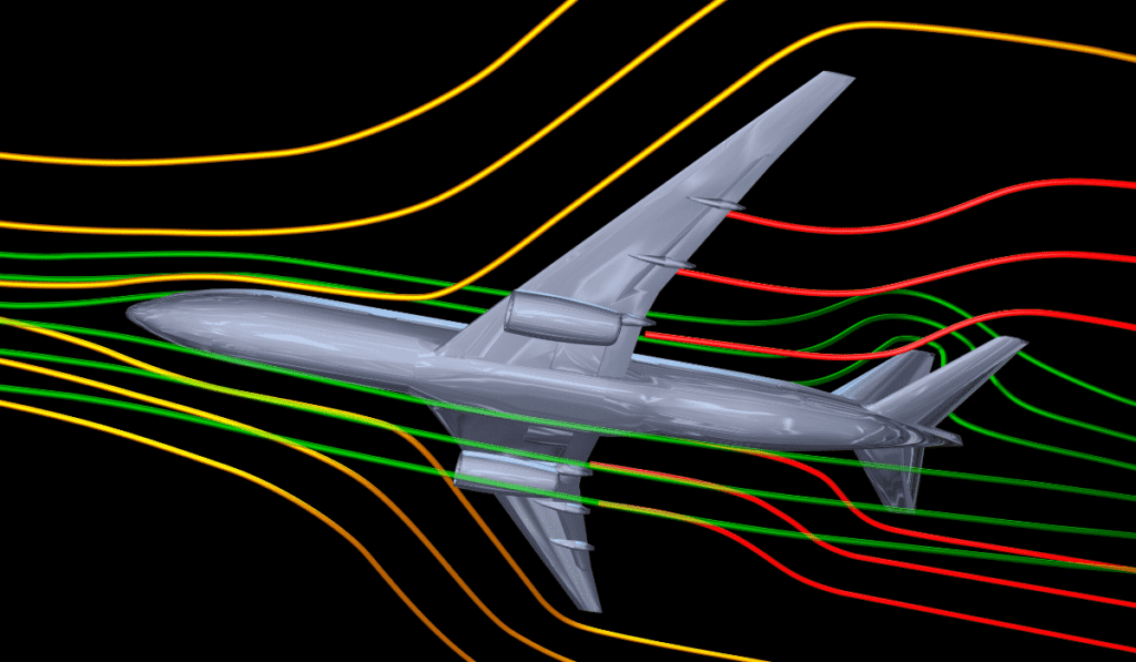 Diagram of flow of air over a plane flying landscape