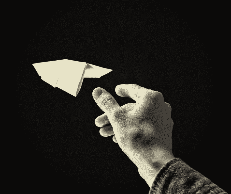 Paper airplane flying due to aerodynamic principles