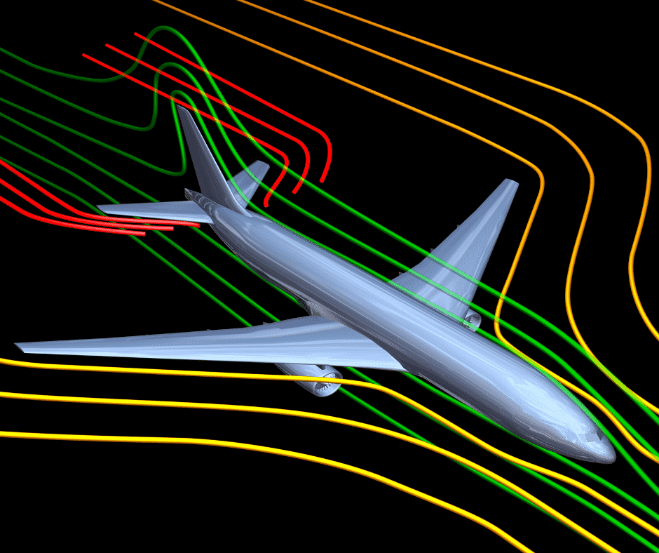 Diagram of airflow over the wings of an airplane