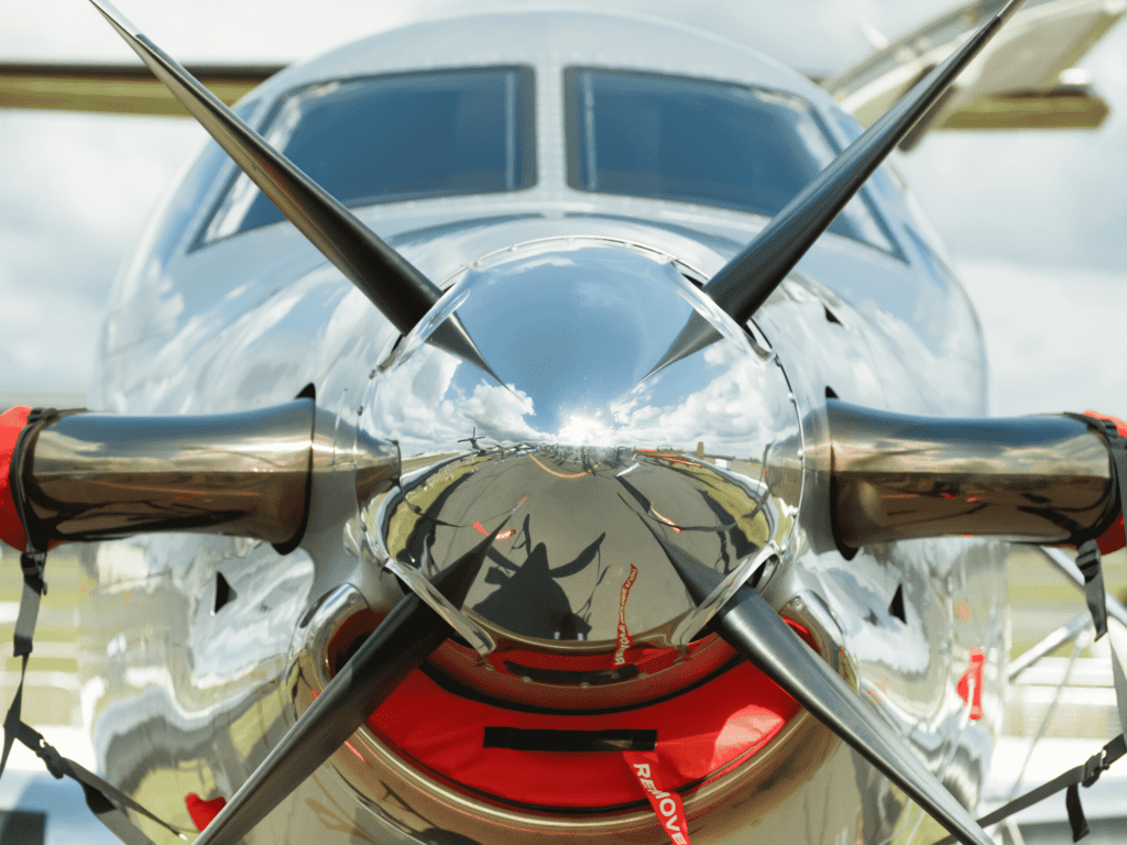chrome covered plane propeller